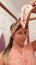 Get tie-up ends to pair up on top of your head