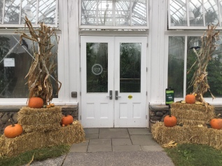 Harvest decor welcomes visitors to the or