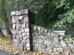 Coach Barn Gate pillar, restorative mortar evident